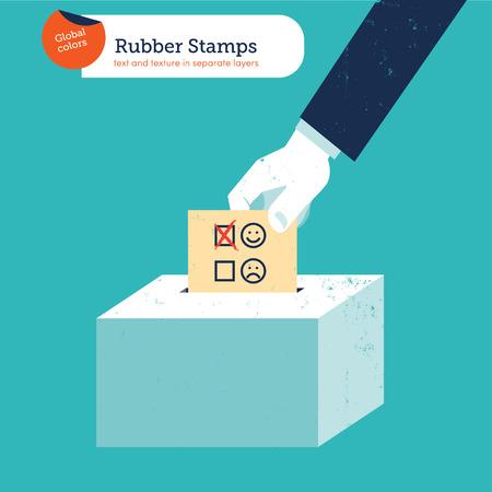 voting ballot: La mano de un hombre de negocios poniendo una papeleta de votaci�n sonriente en una urna ranura. Ilustraci�n del vector EPS10 archivo. Mundial de colores. Texto y textura en capas separadas.