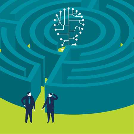 classified ad: Businessmen wanting to enter a techno bulb maze Illustration