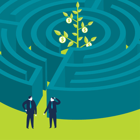 wanting: Businessmen wanting to enter a money plant maze Illustration