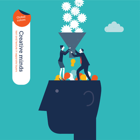 Businessman and woman with funnel filling a head with gears.      Illustration