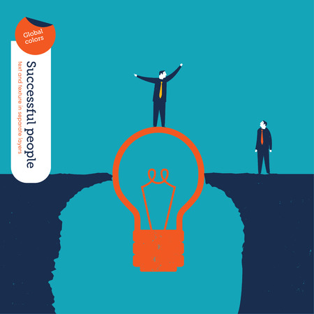 conquering adversity: Businessman on a bulb helping a man to cross an abyss.