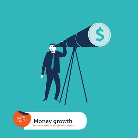 Businessman looking through a telescope dollar.    Illustration