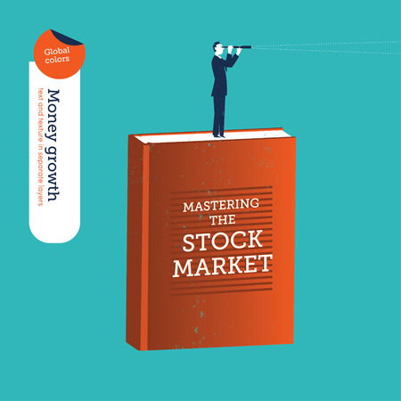 forefront: Businessman on a stock market book with a spyglass.