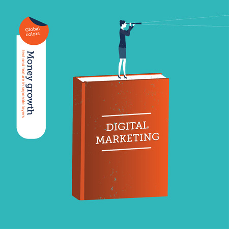forefront: Businesswoman on a digital marketing book with a spyglass.   Illustration