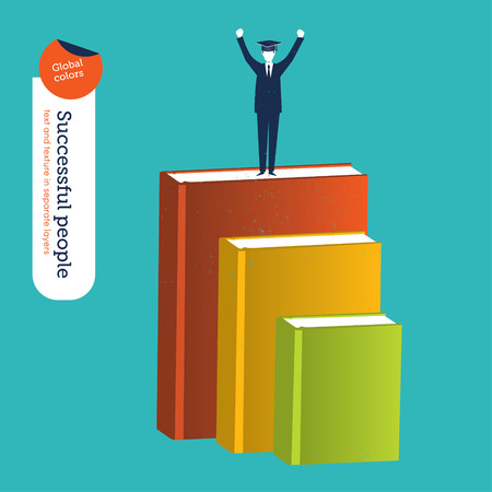 classified ad: Businessman reaching his goals through study and books.     Illustration