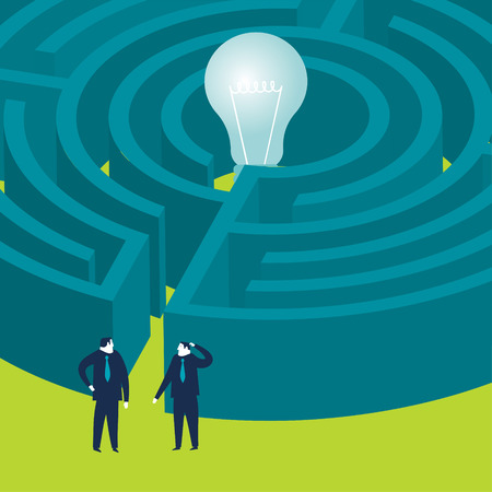 Businessmen wanting to enter a bulb maze Vector