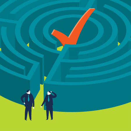 Businessmen wanting to enter an ok maze Vector