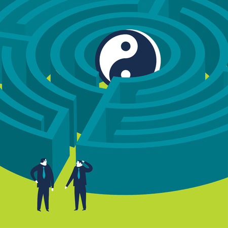 Businessmen trying to find the way to a yin yang symbol maze Ilustrace