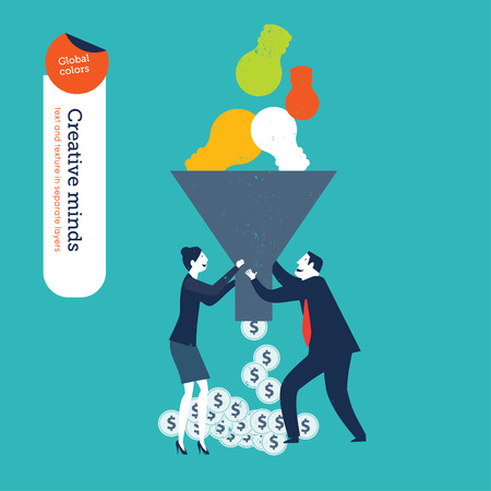 light bulb idea: Businessman and woman with funnel with bulb and money.     Illustration