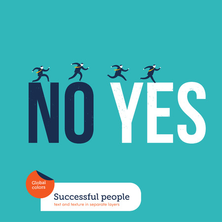 forefront: Businessmen springing from a no to a yes word.   Illustration