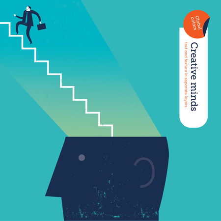 Businessman with stairs from head.    Ilustrace