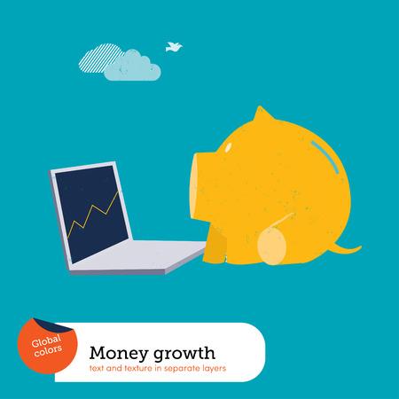 Money pig with laptop.   Ilustrace
