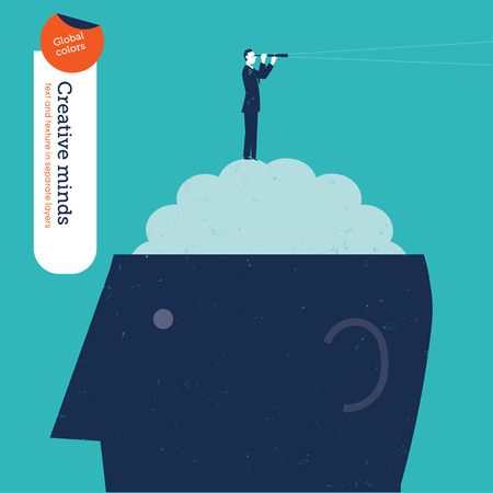 Businessman on brain with spyglass.   Vector