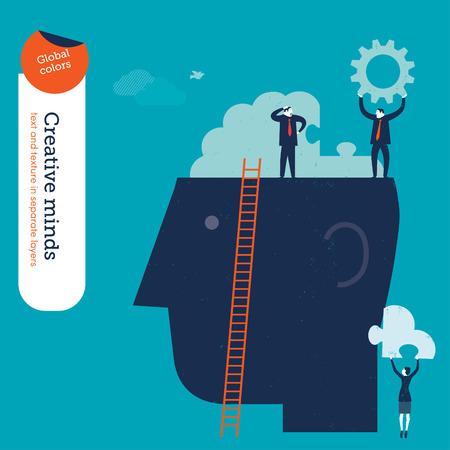 mente humana: Empresario en la cabeza con rompecabezas del cerebro.