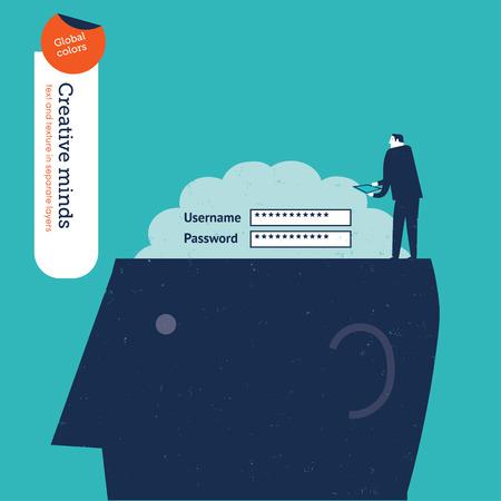 accessing: Empresario acceder al cerebro.