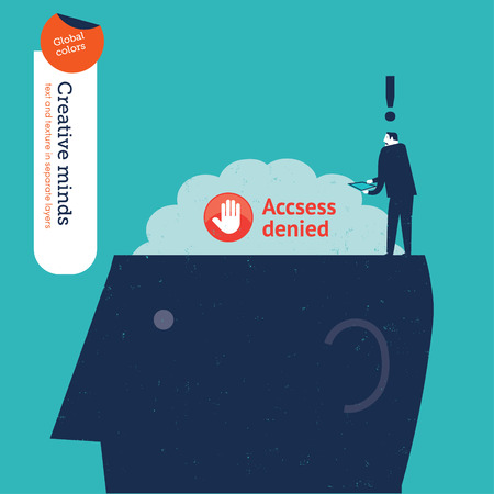 vector control illustration: Businessman trying to access the brain but access denied.