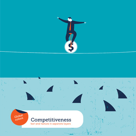 risks icon: Businessman on unicycle on a tightrope with sharks. Vector illustration Eps10 file. Global colors. Text and Texture in separate layers.