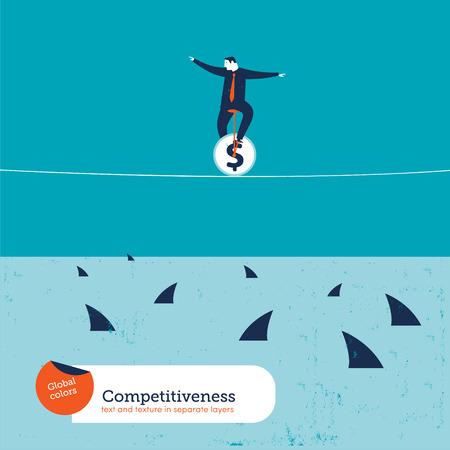tightrope: Zakenman op eenwieler op een koord met haaien. Vector illustratie Eps10 bestand. Global kleuren. Tekst en textuur in afzonderlijke lagen.