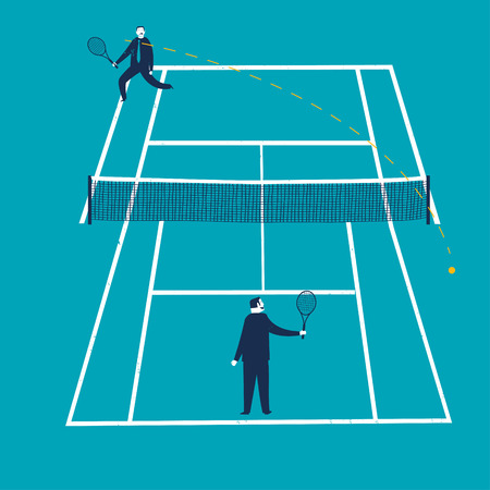 unfair: Businessmen on an unfair tennis court