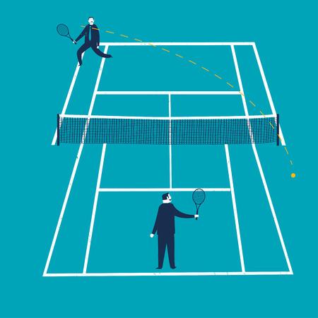 Businessmen on an unfair tennis court