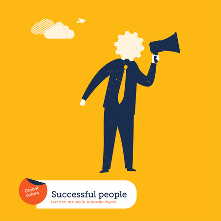 spokesperson: Businessman with megaphone and a gear as head. Vector illustration Eps10 file. Global colors. Text and Texture in separate layers. Illustration