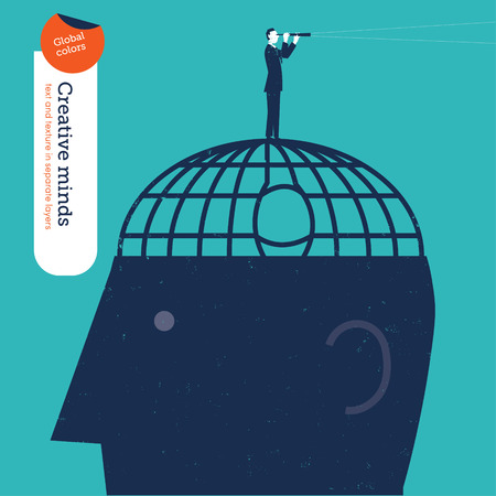 escaped: Businessman who escaped from a brain jail looks through a spyglass. Vector illustration Eps10 file. Global colors. Text and Texture in separate layers. Illustration