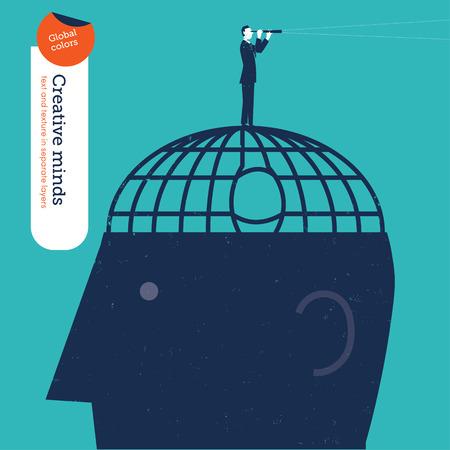 testigo: El hombre de negocios que escap� de una c�rcel cerebro se ve a trav�s de un catalejo. Ilustraci�n del vector EPS10 archivo. Mundial de colores. Texto y textura en capas separadas.