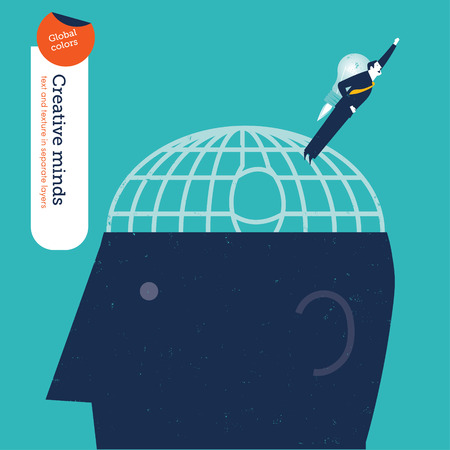 daring: Businessman escaping a brain. Vector illustration Eps10 file. Global colors. Text and Texture in separate layers.