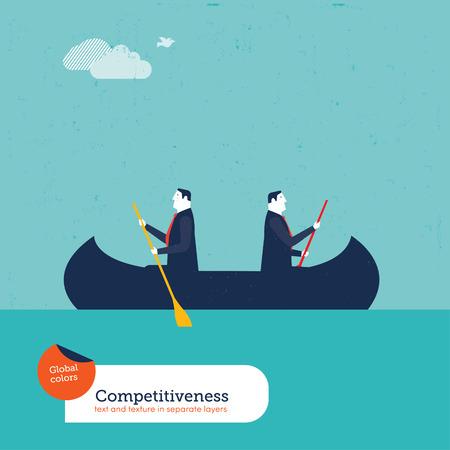反対の方向で手漕ぎボートのビジネスマン。ベクトル イラスト Eps10 ファイル。グローバル カラーです。テキストと別のレイヤーにテクスチャ。