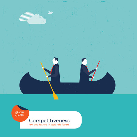 work on computer: Businessmen rowing in opposite directions. Vector illustration Eps10 file. Global colors. Text and Texture in separate layers. Illustration