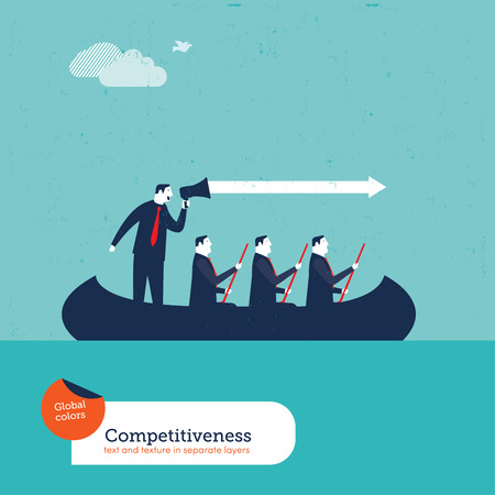 Businessmen in a boat with megaphone. Vector illustration Eps10 file. Global colors. Text and Texture in separate layers.