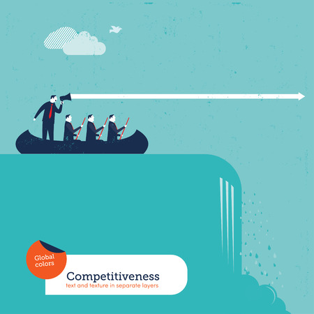 spokesperson: Businessmen in a boat with team leader crossing a waterfall. Vector illustration Eps10 file. Global colors. Text and Texture in separate layers.