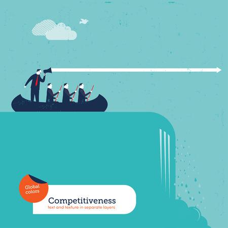 teamleider: Zakenlieden in een boot met teamleider oversteken van een waterval. Vector illustratie Eps10 bestand. Global kleuren. Tekst en textuur in afzonderlijke lagen.