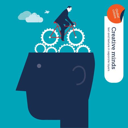 pensamiento creativo: Empresario andar en bicicleta con los engranajes en la cabeza. Ilustraci�n del vector EPS10 archivo. Mundial de colores. Texto y textura en capas separadas.