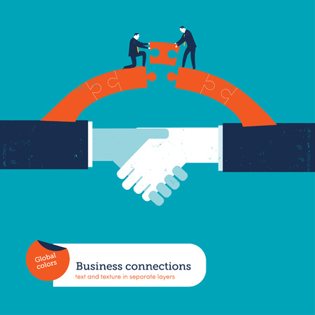 Shaking hands with two businessmen Were puzzle bridge. Vector illustration Eps10 file. Global colors. Text and Texture in separate layers.