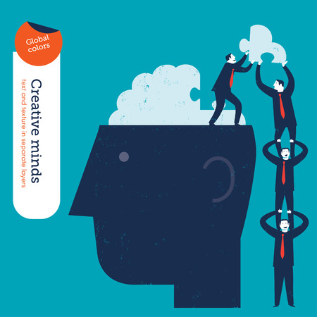 brain: Businessmen pyramid putting the missing piece of a puzzle brain. Vector illustration Eps10 file. Global colors. Text and Texture in separate layers. Illustration