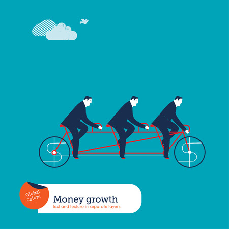 cooperation: Businessmen on tandem bike with money sign. Vector illustration Eps10 file. Global colors. Text and Texture in separate layers.
