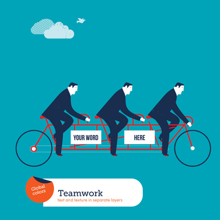 Businessmen on tandem bike with empty space to put words. Vector illustration Eps10 file. Global colors. Text and Texture in separate layers.