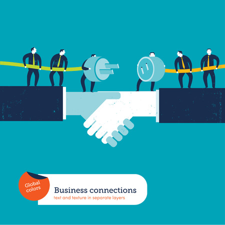 business connections: Businessmen with plug and socket Were handshake. Vector illustration Eps10 file. Global colors. Text and Texture in separate layers. Illustration
