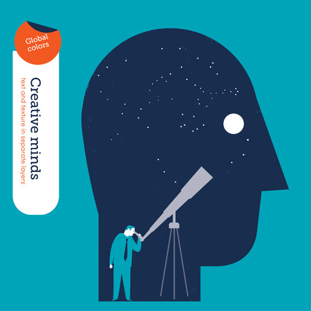 curiosity: Businessman looking trough a telescope in the head. Vector illustration Eps10 file. Global colors. Text and Texture in separate layers.