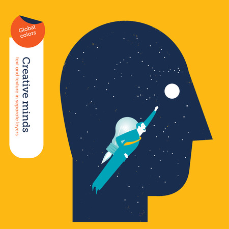 growth opportunity: Businessman flying in a head with bulb rocket. Vector illustration Eps10 file. Global colors. Text and Texture in separate layers.