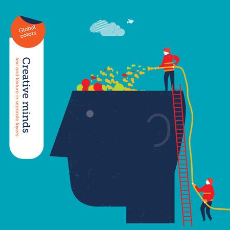 cerebro humano: Bomberos Empresarios llenado la cabeza vacía con bombillas. Ilustración del vector EPS10 archivo. Mundial de colores. Texto y textura en capas separadas.