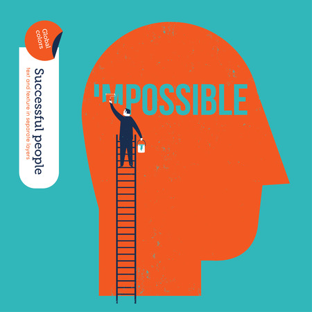 work head: Businessman erasing the word impossible in a big head.