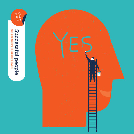 executive search: Businessman painting a yes word in a big head. Illustration
