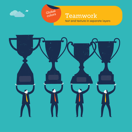 Businessmen carrying trophies. Vector illustration Eps10 file. Global colors. Text and Texture in separate layers. Vector