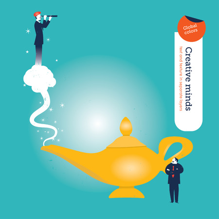 three wishes: Businessman with aladdin\ Illustration