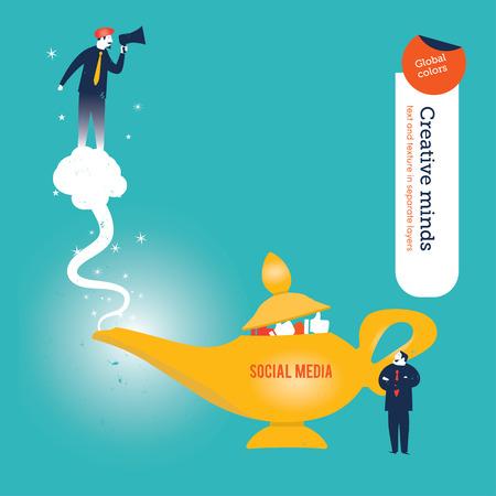 three wishes: Businessman with aladdin\ Illustration