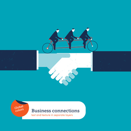 team effort: Businessmen on a tandem bike crossing over a handshake. Vector illustration Eps10 file. Global colors. Text and Texture in separate layers.