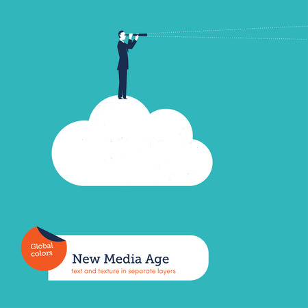 forefront: Businessman with spyglass on a cloud. Vector illustration Eps10 file. Global colors. Text and Texture in separate layers.