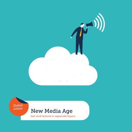loud speaker: Businessman with megaphone on a cloud. Vector illustration Eps10 file. Global colors. Text and Texture in separate layers.